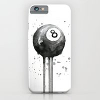8-Ball Watercolor Black Pool Billiards Eight Ball Art iPhone 6s Slim Case