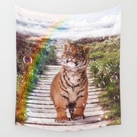 tigers Wall Tapestries featuring Tigers soap bubbles by Simone Gatterwe