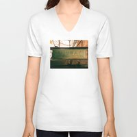 subway V-neck T-shirts featuring Subway by Kimball Gray