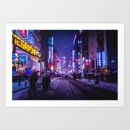 Shibuyascapes Snowy Night Art Print