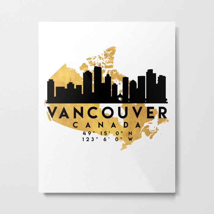 Map Of Canada Silhouette.Vancouver Canada Silhouette Skyline Map Art Metal Print By Deificusart