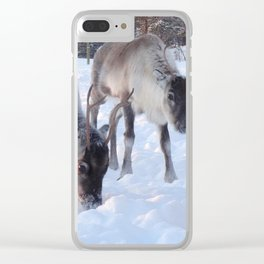 reindeer in the snow Clear iPhone Case
