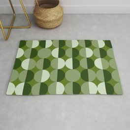 Retro circles grid green Rug