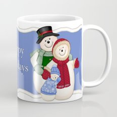 Snowman and Family Glittered Mug