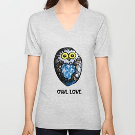 Owl Love Rock Painting on River Rock by annmariescreations Unisex V-Neck