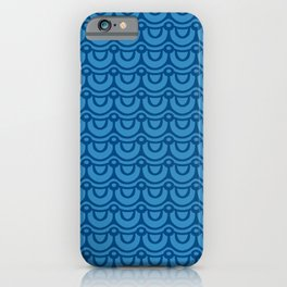 Classic Blue Boho Festival Abstract Wave Geometric Pattern iPhone Case