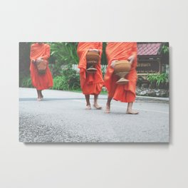 monks collecting alms Metal Print