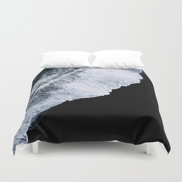Waves crashing on a black sand beach – minimalist Landscape Photography Duvet Cover