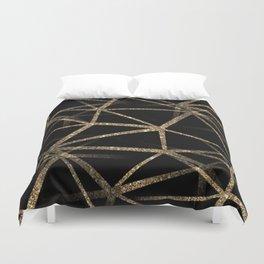 Black and Gold Geometric Design Duvet Cover