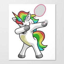 Dabbing Unicorn Badminton Funny Dancing Dab Gift Canvas Print