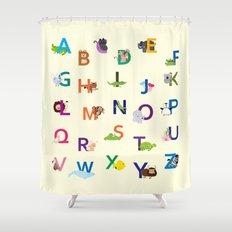 Cute Alphabets Animals Shower Curtain