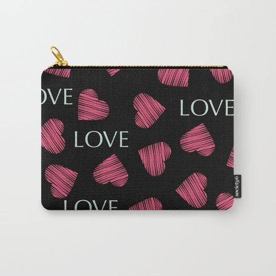 Seamless hearts pattern retro texture, red and mint hearts background, valentines day print Carry-All Pouch