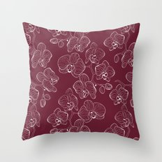 Retro . Orchid flowers on a red background . Throw Pillow