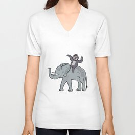 Sloth Riding An Elephant Funny Gift Unisex V-Neck