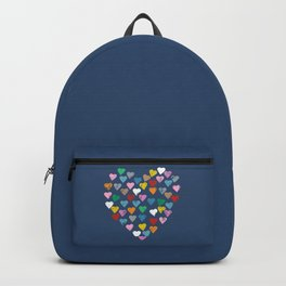 Distressed Hearts Heart Navy Backpack