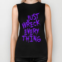 Just Wreck Everything Violet Blue Grunge Graffiti Biker Tank