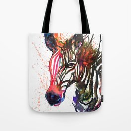 Zebra Splash Tote Bag
