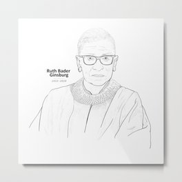 Drawing portrait of United States Supreme Court Justice, Ruth Bader Ginsburg. Metal Print