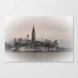 Bled Island Winter Canvas Print
