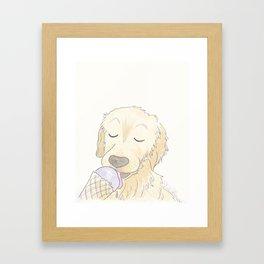 Labrador Dog and Lavender Ice-Cream Love Framed Art Print