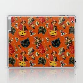 Vintage Black Cat Halloween Toss in Pumpkin Spice Laptop & iPad Skin