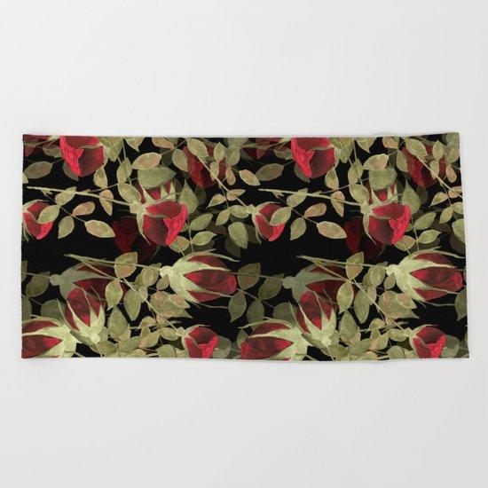 Seamless watercolor roses pattern on black Beach Towel