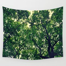 In the woods the light through leaves Wall Tapestry