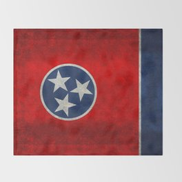 Tennessee State flag, Vintage version Throw Blanket