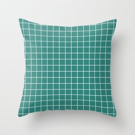 Celadon green - green color - White Lines Grid Pattern Throw Pillow