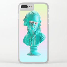 Bust of a Weeping Man (In Ice Blue Gradient) Clear iPhone Case