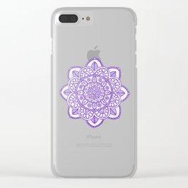 Purple Mandala on White Marble Clear iPhone Case