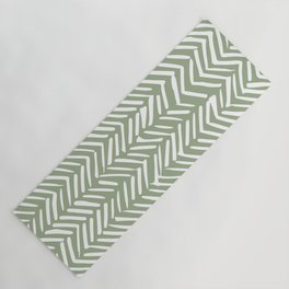 Boho Herringbone Pattern, Sage Green and White Yoga Mat