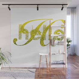 Hello Hi Gold Shimmer Greeting Wall Mural