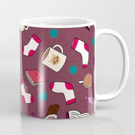 Bookworm Print on Purple Coffee Mug
