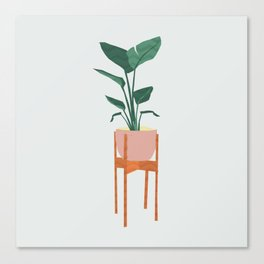 Boho mid century modern house plant and pot stand Canvas Print