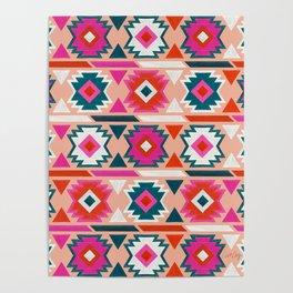 Kilim Abundance Pattern  - Blush & Teal Palette Poster