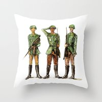 top gun Throw Pillows featuring Barely Soldiers by Torrinika