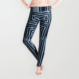 Blue Geek Motherboard Circuit Pattern Leggings