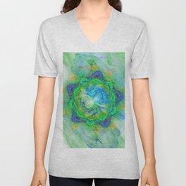 Fantasy fractal flower in green on white Unisex V-Neck