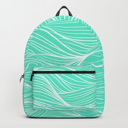 Modern white turquoise hand drawn waves abstract geometric pattern Backpack