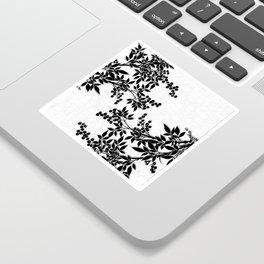 Black and White Leaf Toile Sticker