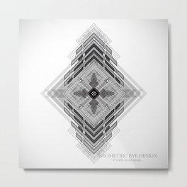 Black and white geometric aztec design, modern tribal artwork Metal Print