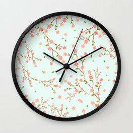 little cherry blossom pattern on mint green Wall Clock