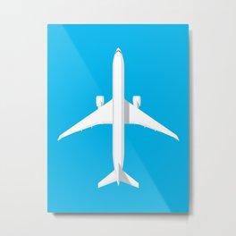 777 Passenger Jet Airliner - Cyan Metal Print