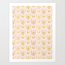 Luxe Rose Gold Foil Floral Lattice Seamless Vector Pattern, Drawn Damask Art Print