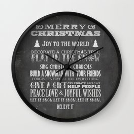 Christmas Chalk Board Typography Text Wall Clock
