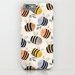Sweet little baby bees watercolor illustration iPhone Case