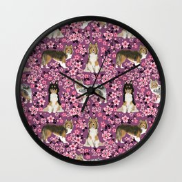 Shetland sheepdog sheltie cherry blossom floral flowers florals dog breed dogs Wall Clock