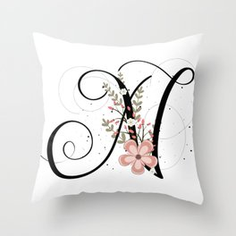 Letter N of the alphabet Throw Pillow