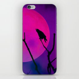 The Crow And The Pink Moon iPhone Skin